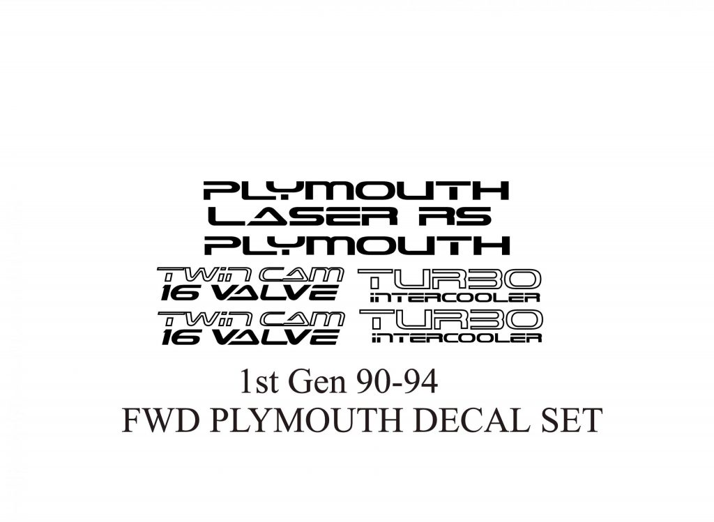 Plymtouth Laser FWD Decal Set 90-94